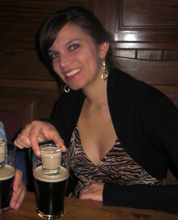 Gabi trying an Irish Carbomb