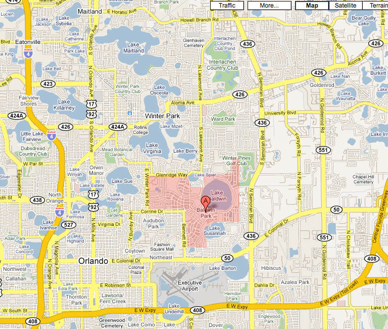 Baldwin Park FL Map