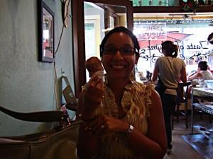 Lupe enjoying some ice cream