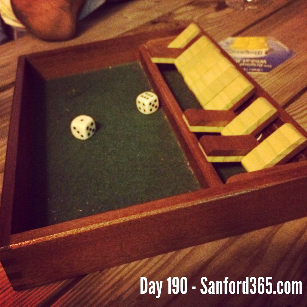 Shut the box board game at Busters Bistro
