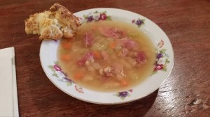 Great northern bean ham soup with cheese biscuits at Kathleen's Klozet