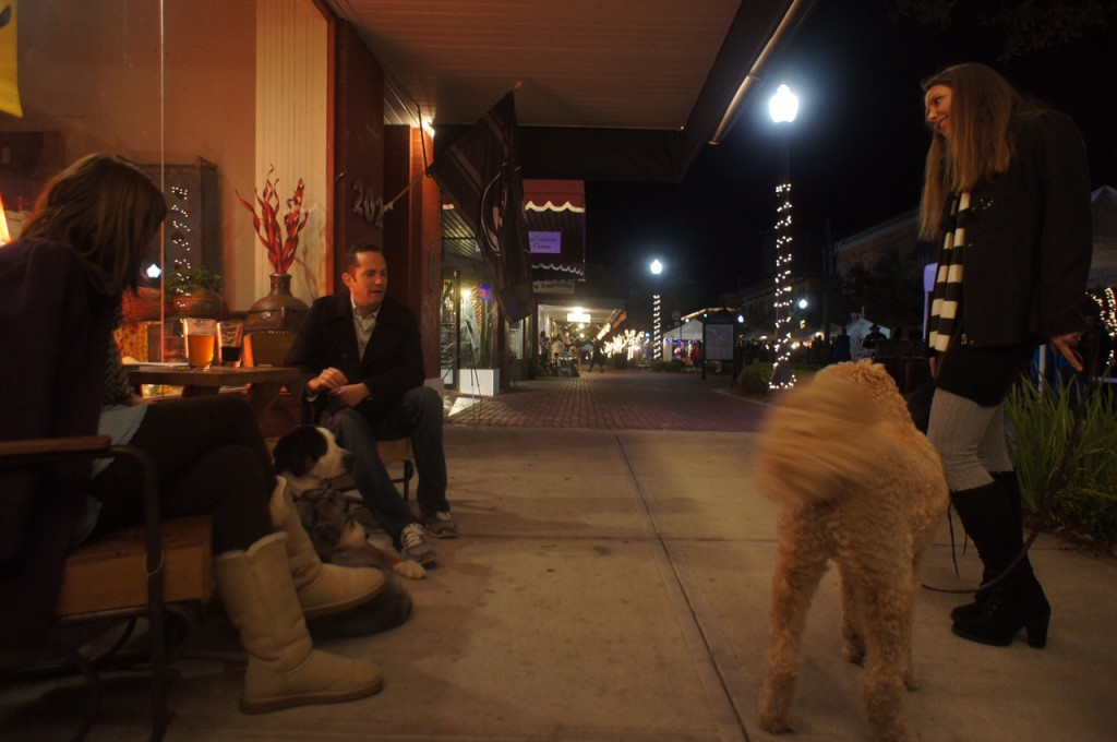 Making new friends with dogs is easy in Downtown Sanford - here in front of the Imperial on First Street
