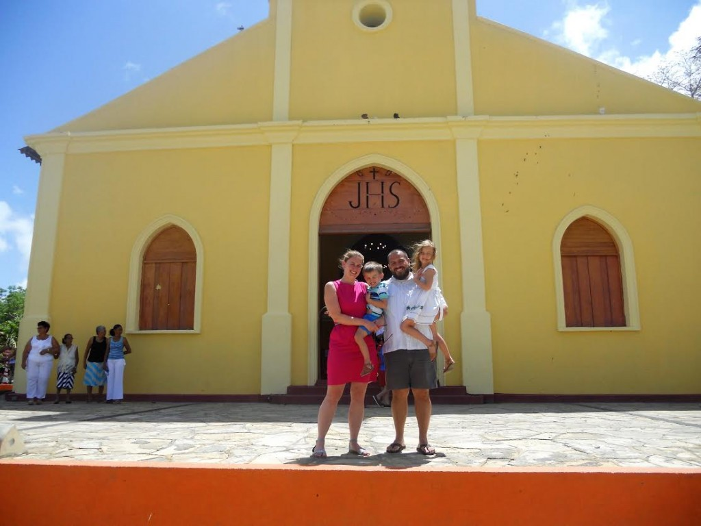 On a family trip to Nicaragua. Picture taken after Easter Mass during Semana Santa 2015. We were in San Juan del Sur. It is a beach town and a popular destination during Holy Week.