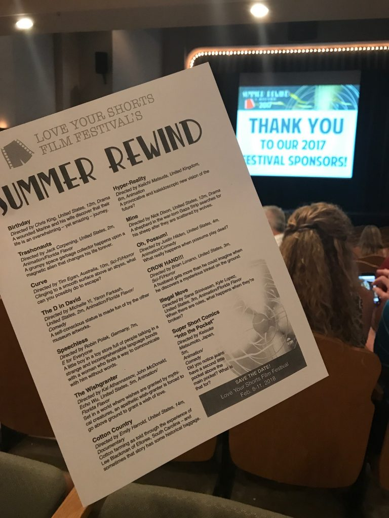 The program for the Love Your Shorts Summer Rewind