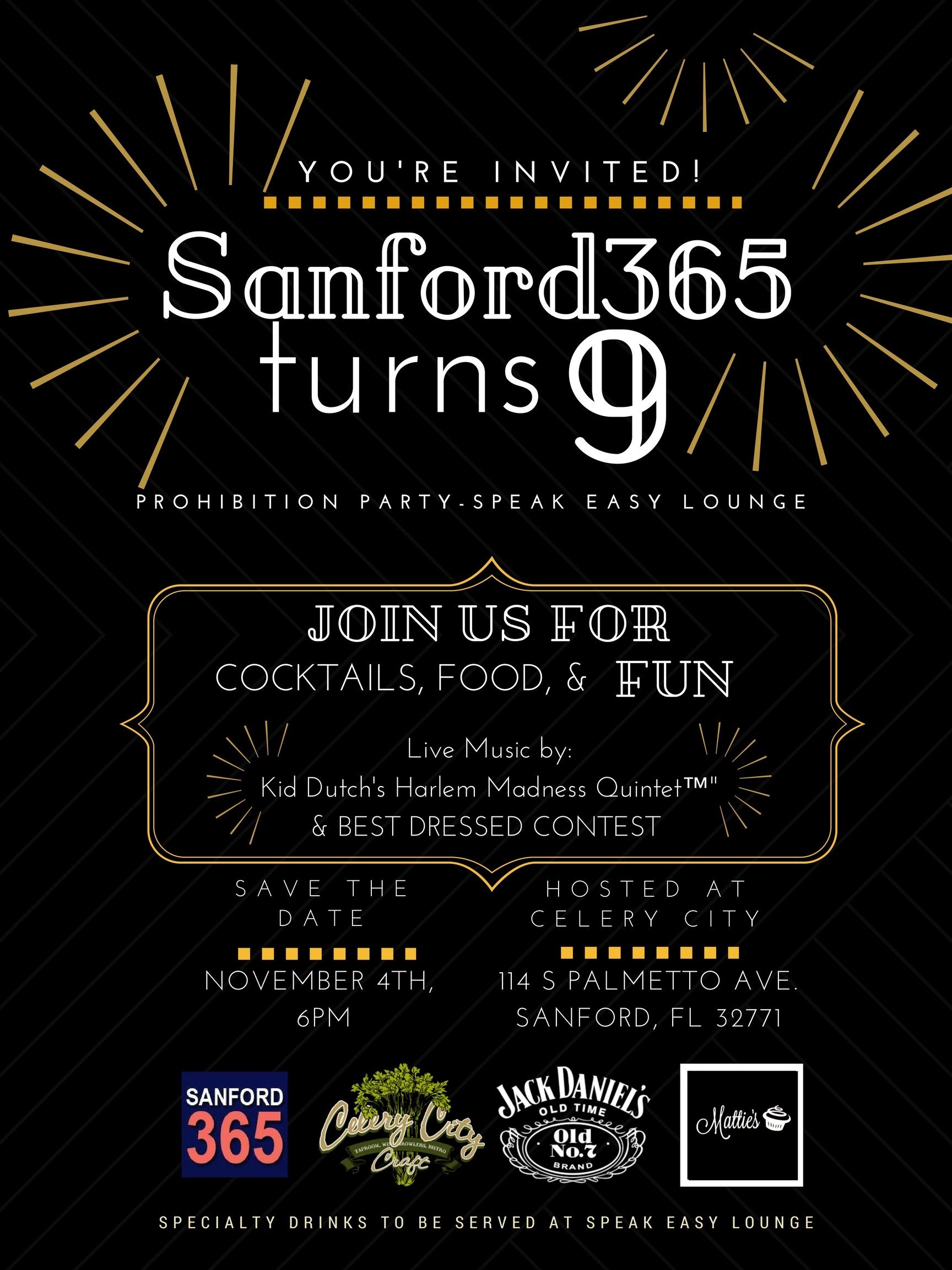 Sanford365 turns 9! Prohibition Party – Speak Easy Lounge