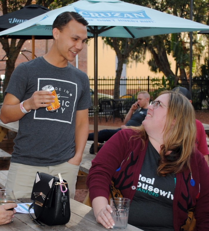 Sada Eaton and Christina Hollerbach discuss beer at the Sanford-Portland Beer Summit