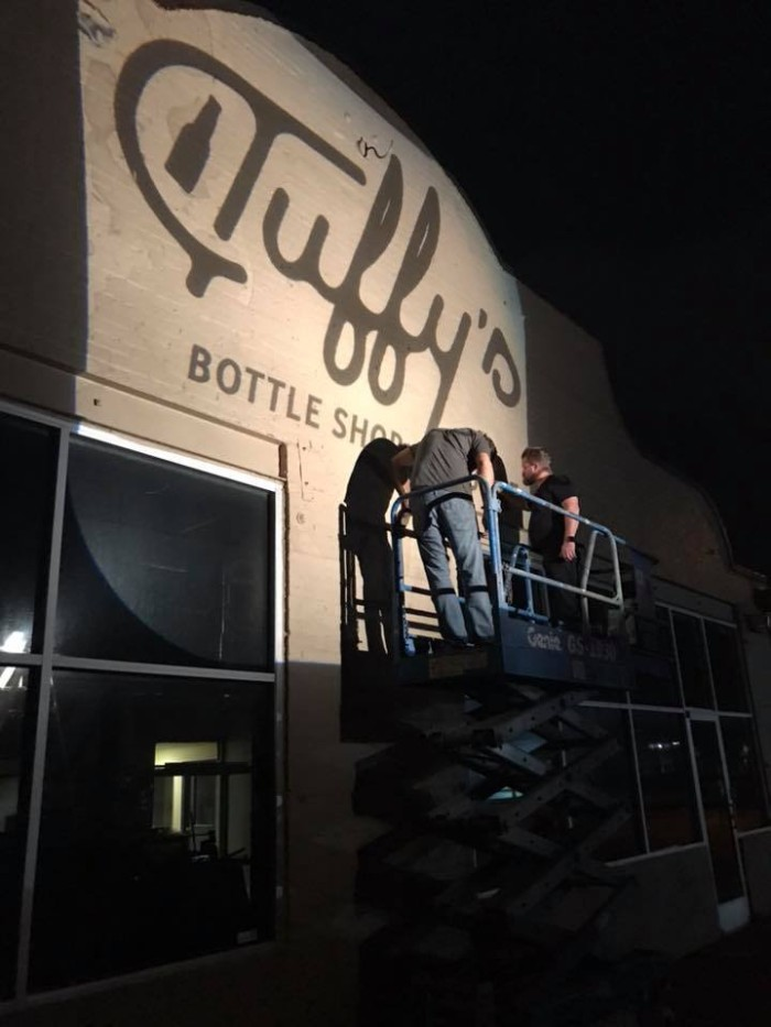 The new sign going up at Tuffy's Bottle Shop in Downtown Sanford