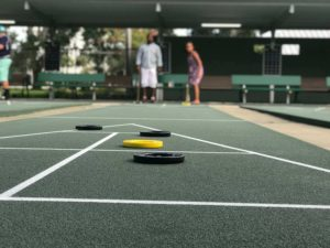 Shuffleboard court at the monthly Sanford Shuffle event in Sanford, FL
