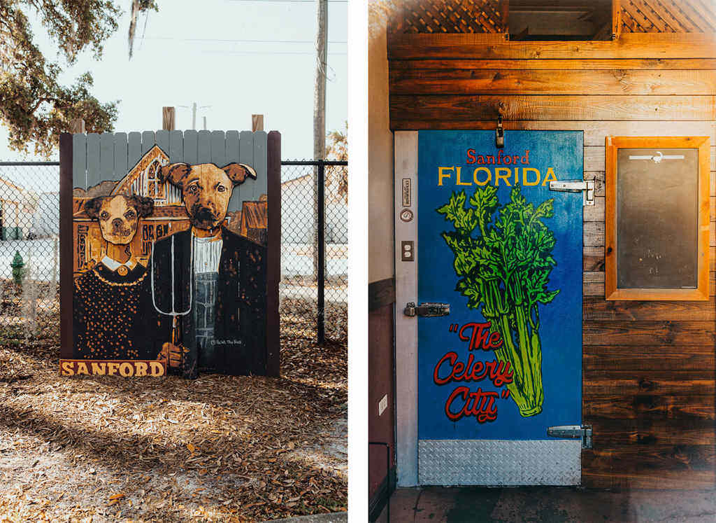 Sanford fence mural and Celery City indoor door mural