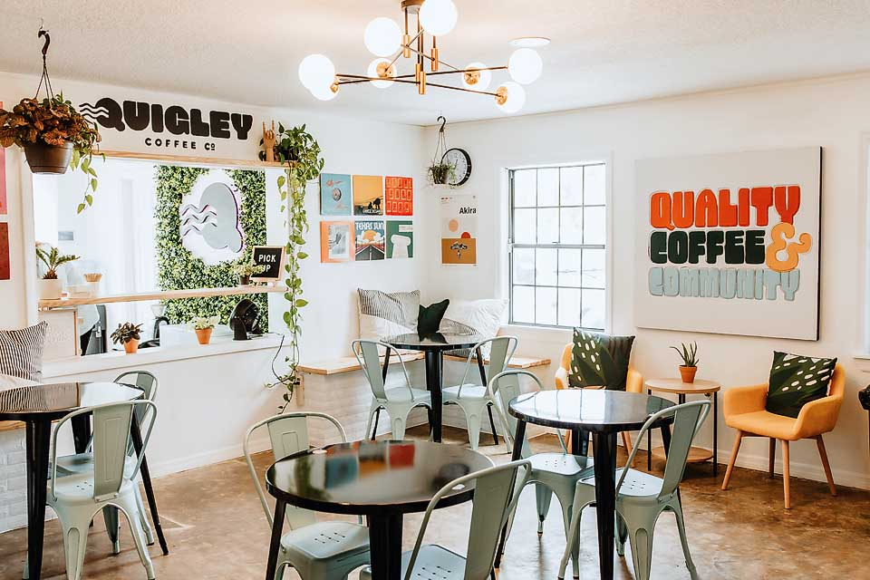 drinking coffee & making friends at quigley coffee Co.